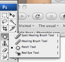 Где в фш CS3 кнопка Spot Healing Brush Tool?