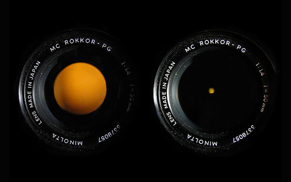Minolta f/1.4-f/14 aperture lens