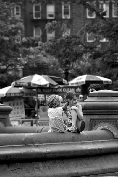 Girls at Fountain in Washington Square Park