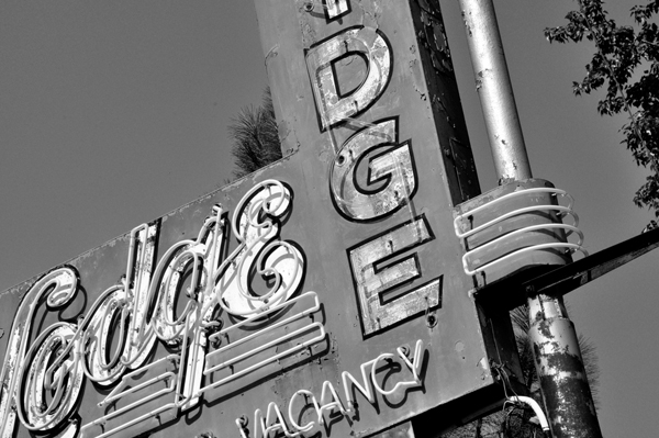 Old Sign at an Angle in Black and White